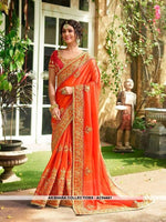 AC54441 - Orange Color Georgette,Satin And Silk Saree