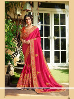 AC54442 - Dark Pink Color Georgette,Satin And Silk Saree