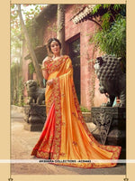 AC54443 - Yellow And Orange Color Georgette,Satin And Silk Saree