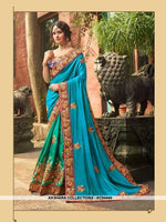 AC54444 - Blue And Green Color Georgette,Satin And Silk Saree