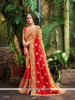 AC54445 - Red Color Georgette,Satin And Silk Saree