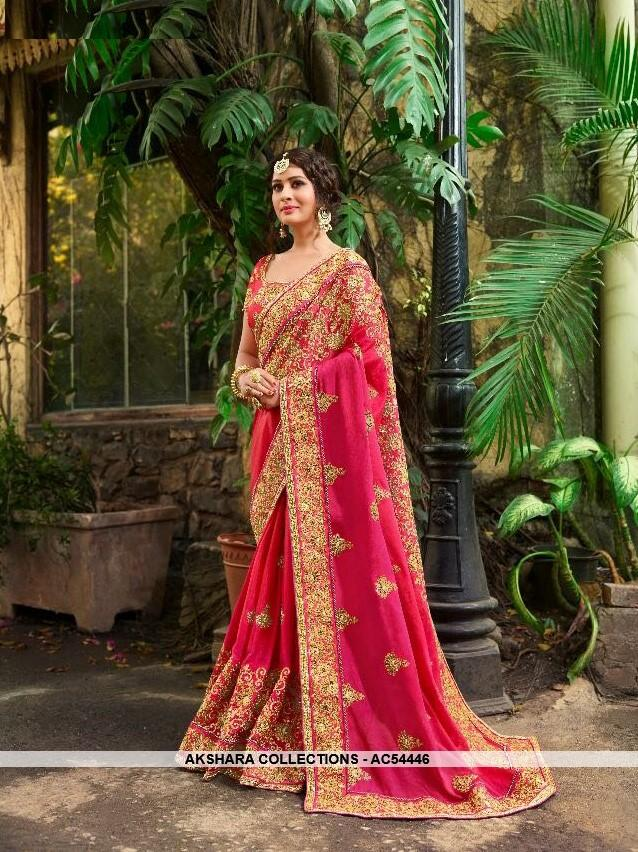 AC54446 - Dark Pink Color Georgette,Satin And Silk Saree