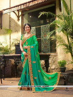 AC54447 - Green Color Georgette,Satin And Silk Saree