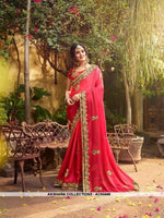 AC54448 - Red Color Georgette,Satin And Silk Saree