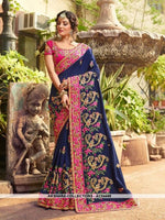 AC54449 - Navy Blue Color Georgette,Satin And Silk Saree