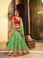 AC54451 - Green Color Georgette,Satin And Silk Saree
