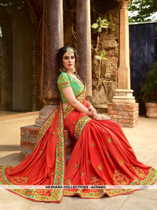 AC54452 - Red Color Georgette,Satin And Silk Saree