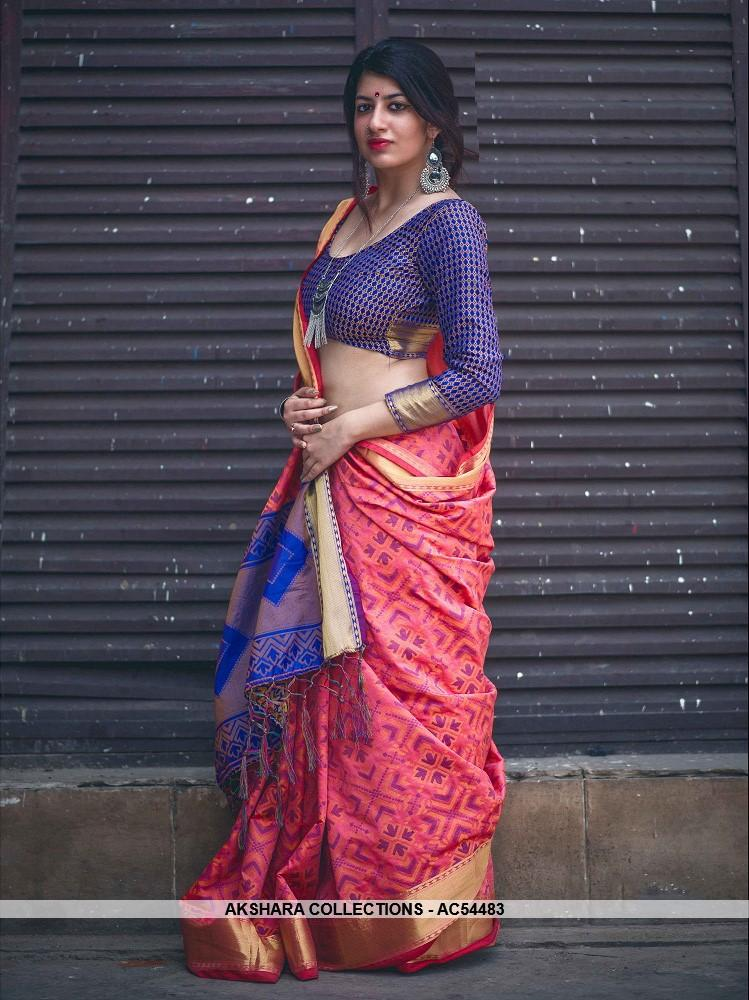 AC54483 - Pink Color Jacquard Silk Saree