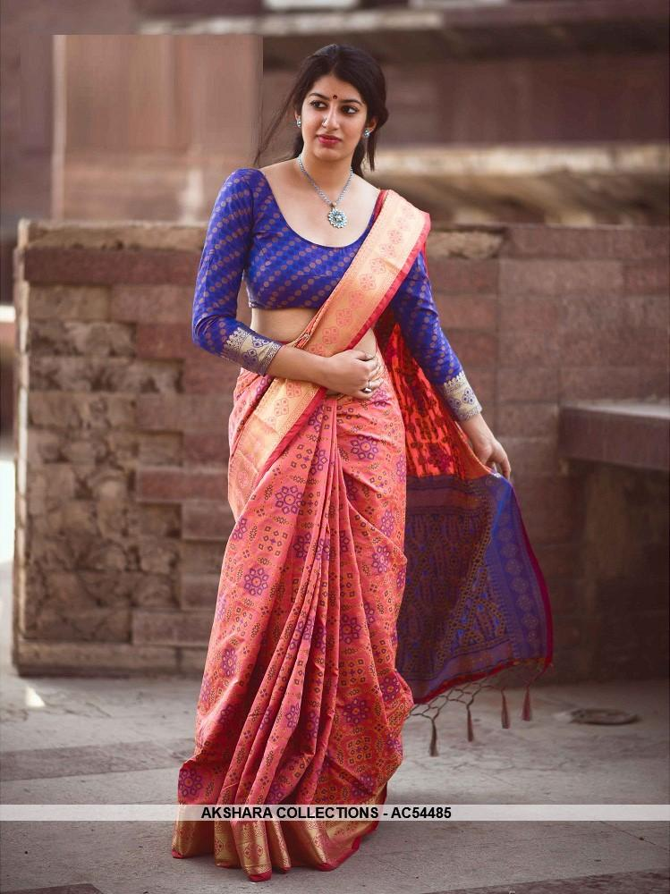 AC54485 - Dark Peach Color Jacquard Silk Saree