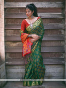 AC54486 - Dark Green Color Jacquard Silk Saree