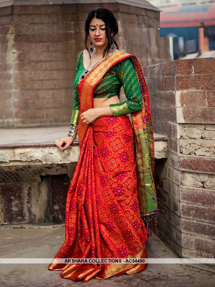 AC54490 - Red Color Jacquard Silk Saree