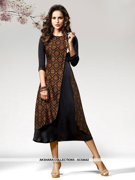 AC54542 - Black Color Crepe Silk Kurti