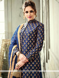 AC54639 - Navy Blue Color Satin Silk Indo- Western Suit