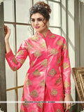 AC54641 - Pink Color Satin Silk Indo- Western Suit