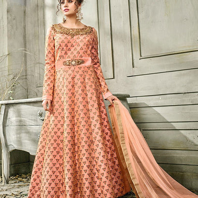 AC54644 - Peach Color Satin Silk Anarkali Suit