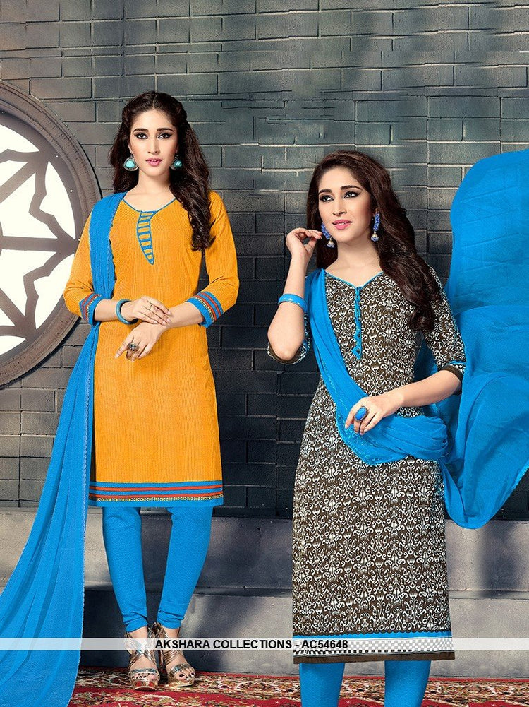 AC54648 - Yellow & Brown Color Cotton  Dual Top Salwar Kameez