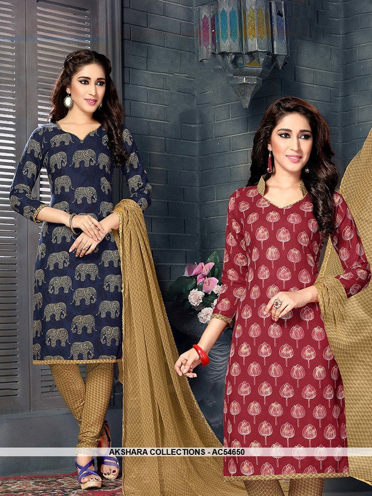 AC54650 - Navy Blue & Maroon Color Cotton  Dual Top Salwar Kameez