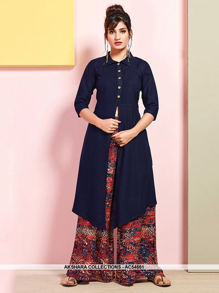 AC54661 - Navy Blue Color Rayon Cotton Kutri with Palazzo Bottom