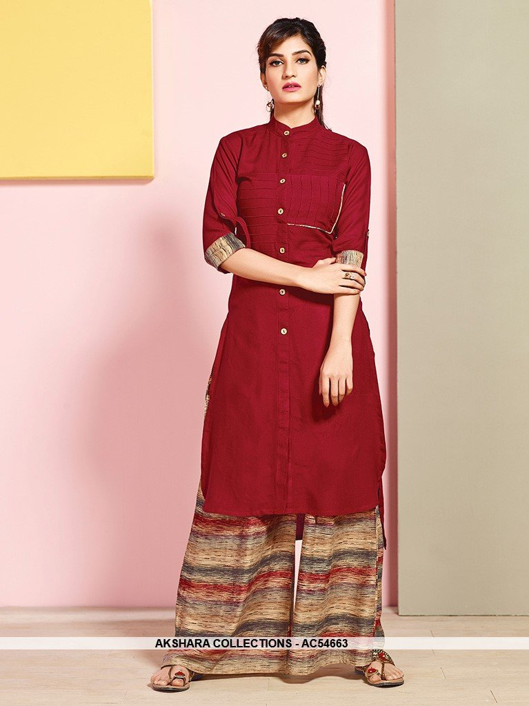 AC54663 - Maroon Color Rayon Cotton Kutri with Palazzo Bottom