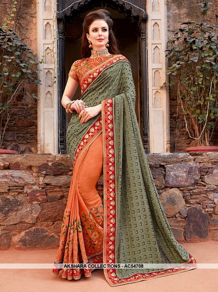 AC54708 - Green and Orange Color Brasso Silk Half N Half Saree