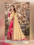AC54709 - Beige and Dark Pink Color Brasso Silk Half N Half Saree