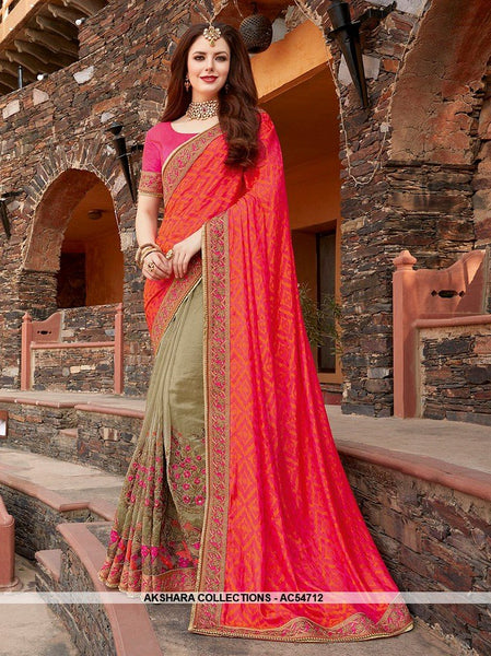 AC54712 - Pink and Beige Color Brasso Silk Half N Half Saree