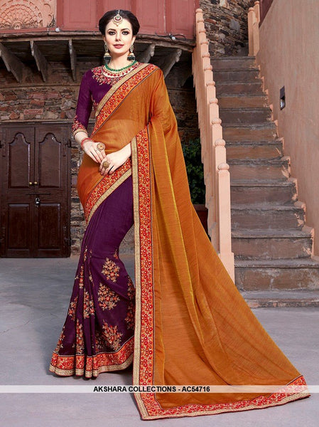 AC54716 - Brown and Purple Color Brasso Silk Half N Half Saree