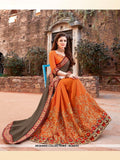 AC54721 - Grey and Orange Color Brasso Silk Half N Half Saree
