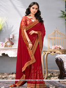 AC54786 - Maroon Color Georgette Saree