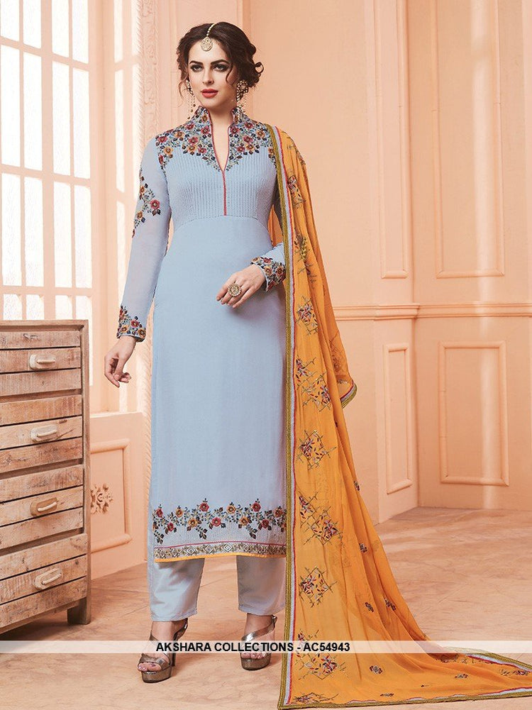 AC54943 - Baby Blue Color Georgette Salwar Kameez