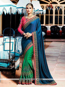 AC54964 - Blue & Green Color Satin Silk Half n Half Saree