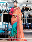 AC54967 - Peach & Blue Color Satin Silk Half n Half Saree