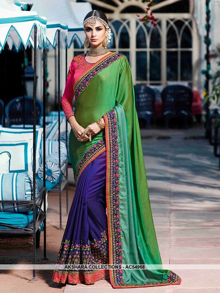 AC54968 - Green & Violet Color Satin Silk Half n Half Saree