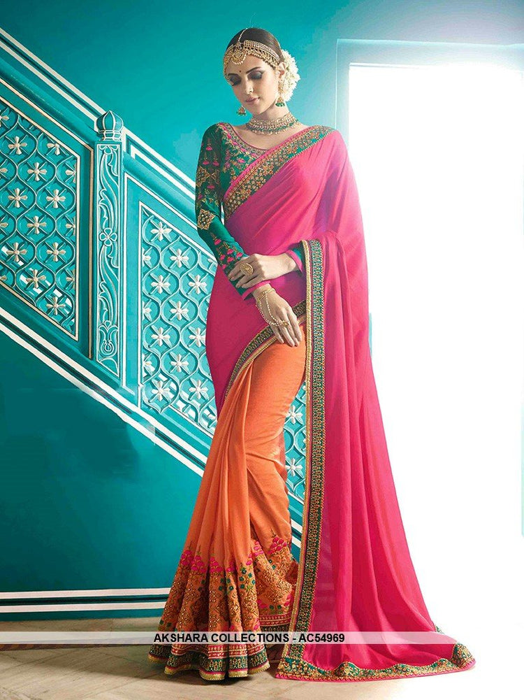 AC54969 - Pink & Orange Color Satin Silk Half n Half Saree