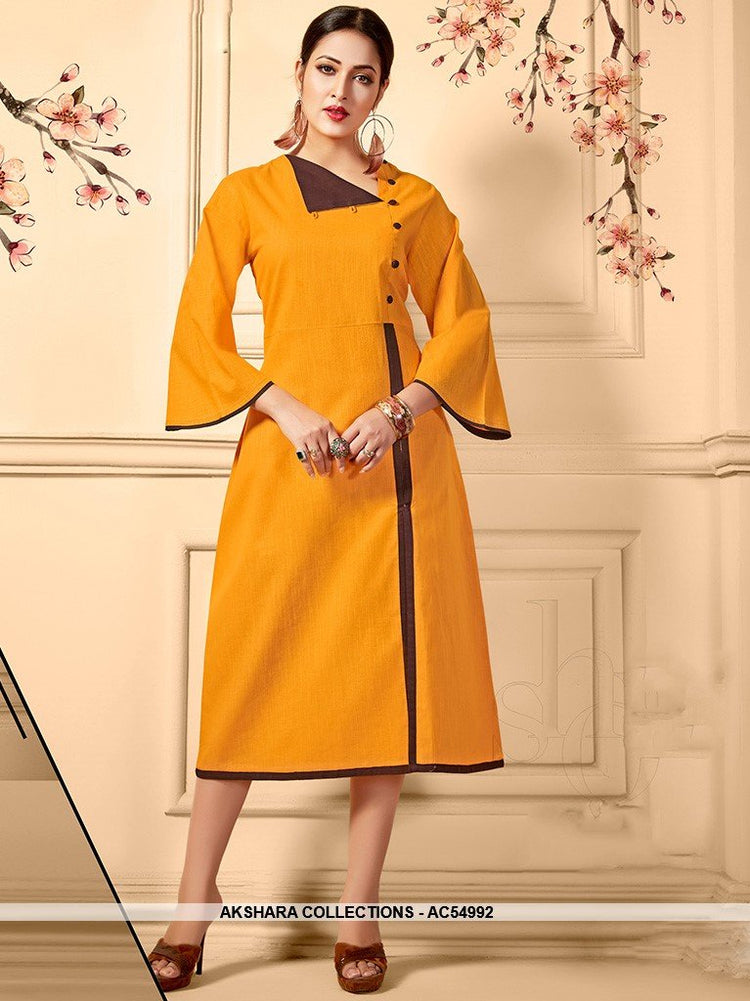 AC54992 - Yellow Color Cotton Kurti