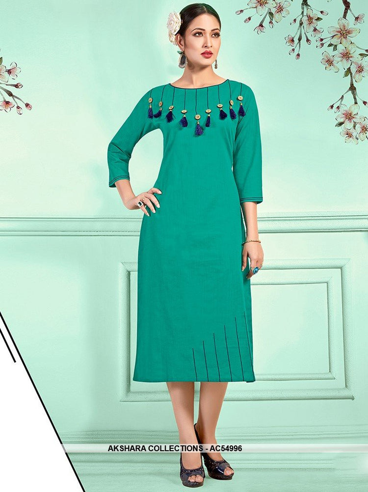 AC54996 - Sea Green Color Cotton Kurti