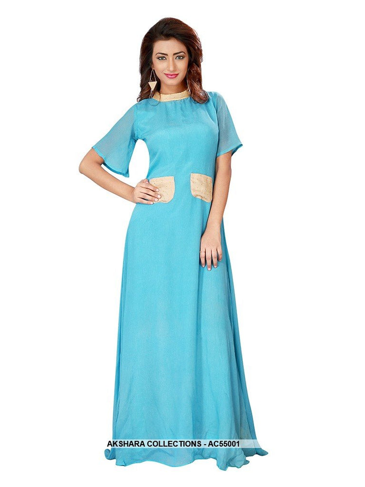 AC55001 - Sky Blue Color Chiffon Gown