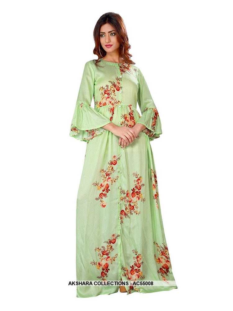 AC55008 - Pastel Green Color Satin Gown
