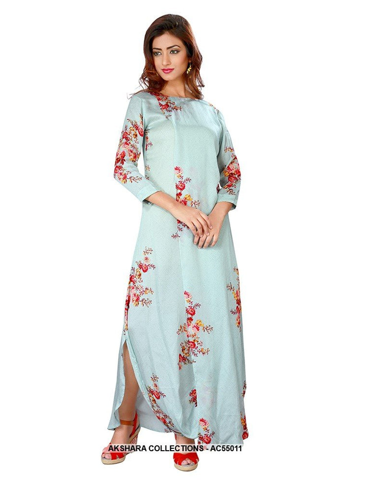 AC55011 - Baby Blue Color Cotton Satin Gown