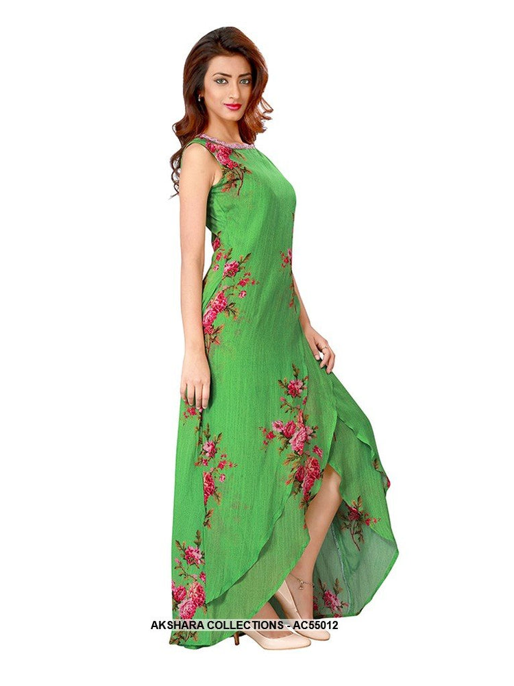 AC55012 - Green Color Chiffon Gown