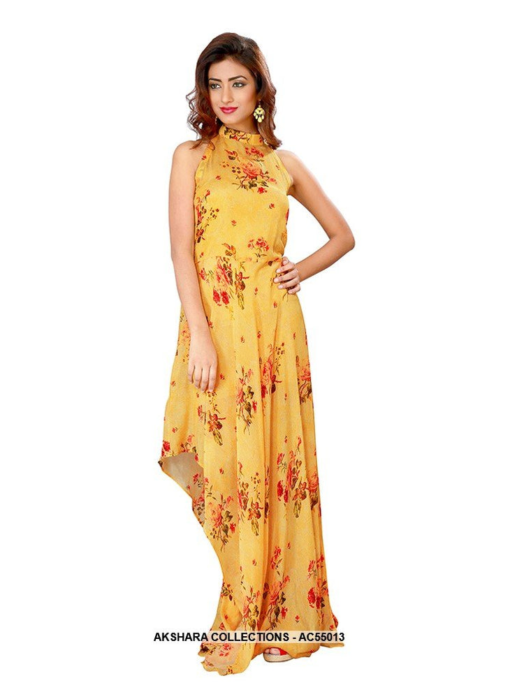 AC55013 - Yellow Color Chiffon Gown