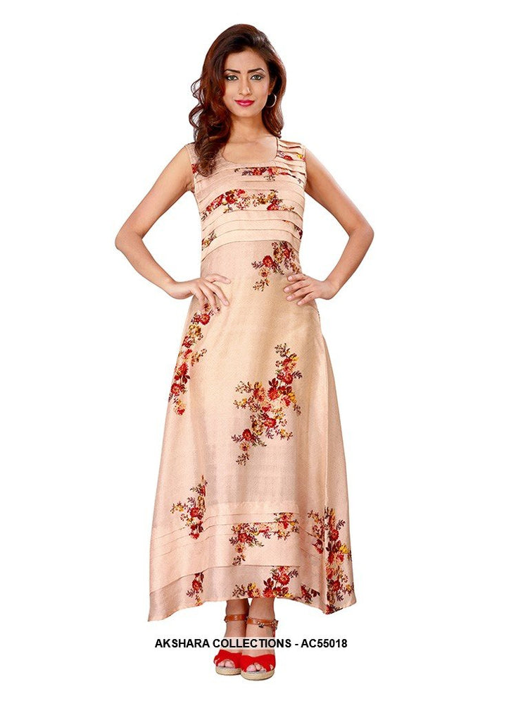 AC55018 - Beige Color Satin Gown