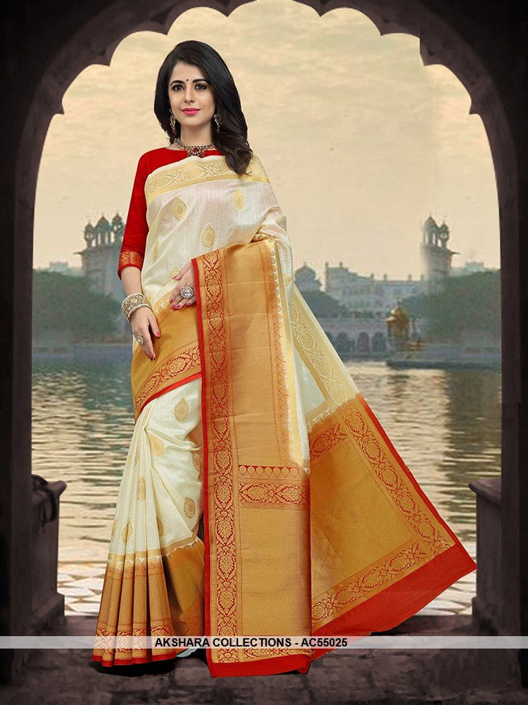AC55025 - White Color Art Silk Saree