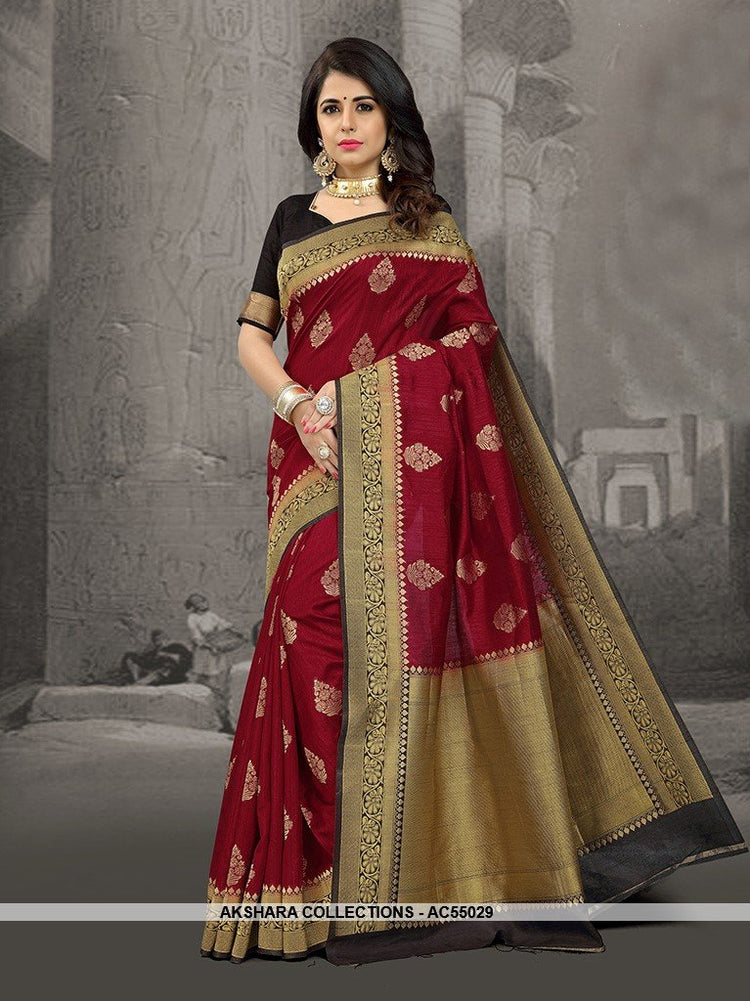 AC55029 - Maroon Color Art Silk Saree