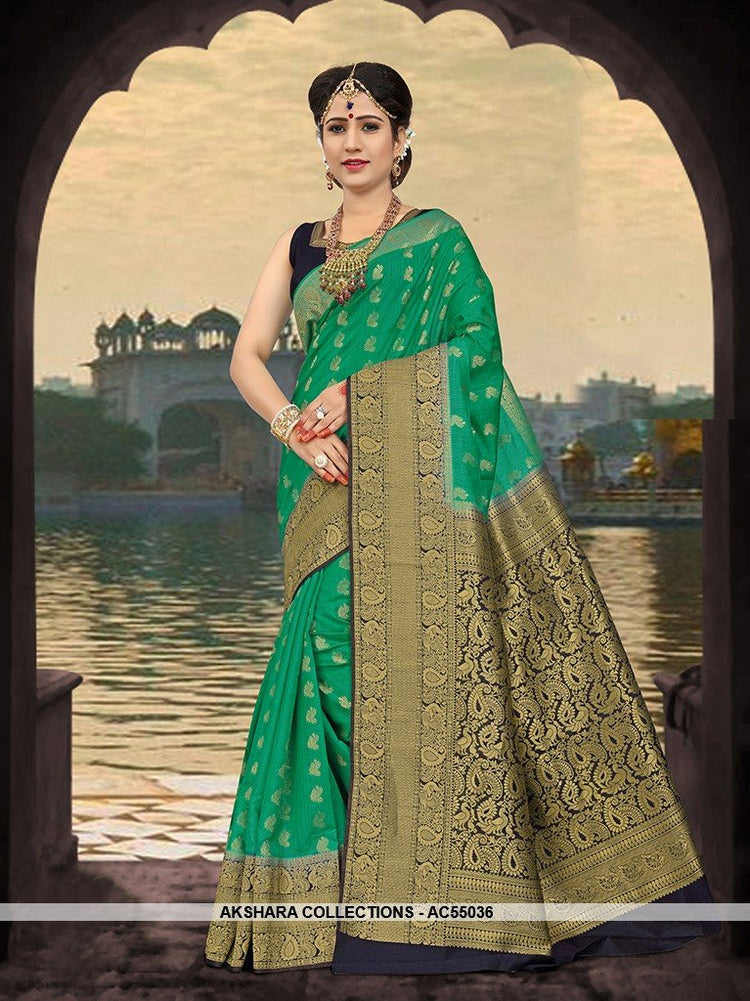 AC55036  Sea Green Color Art Silk Saree