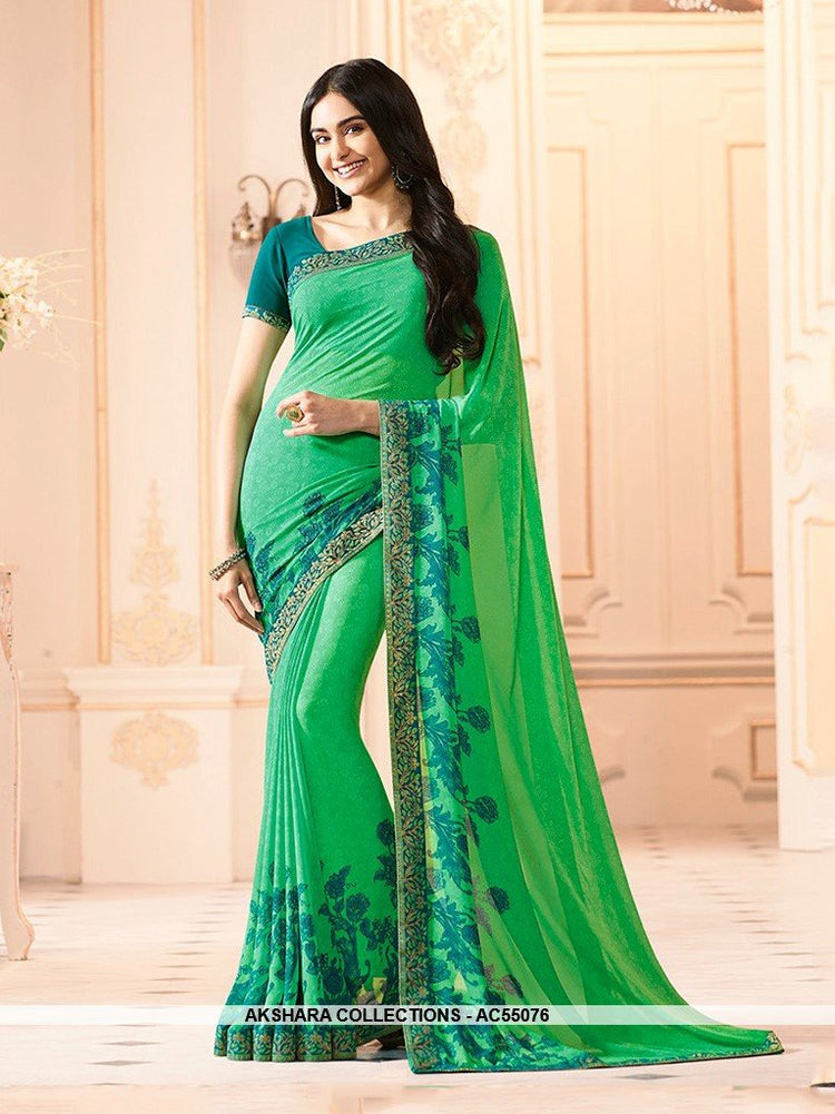 AC55076 - Green Color Georgette Saree