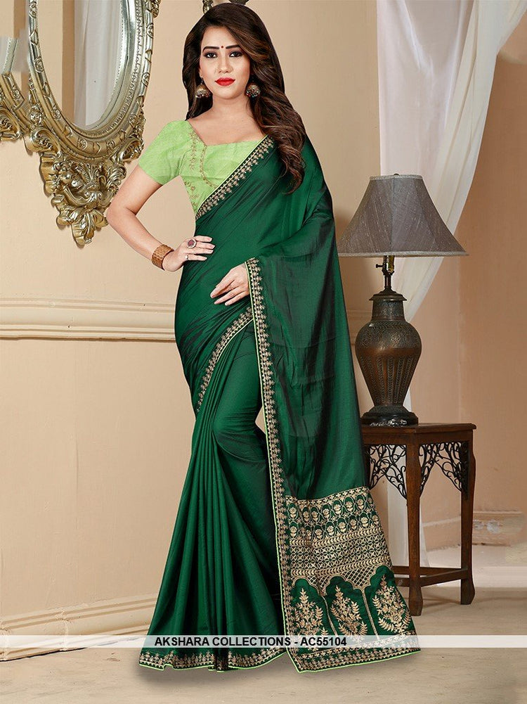 AC55104 - Dark Green Color Barfi Saree