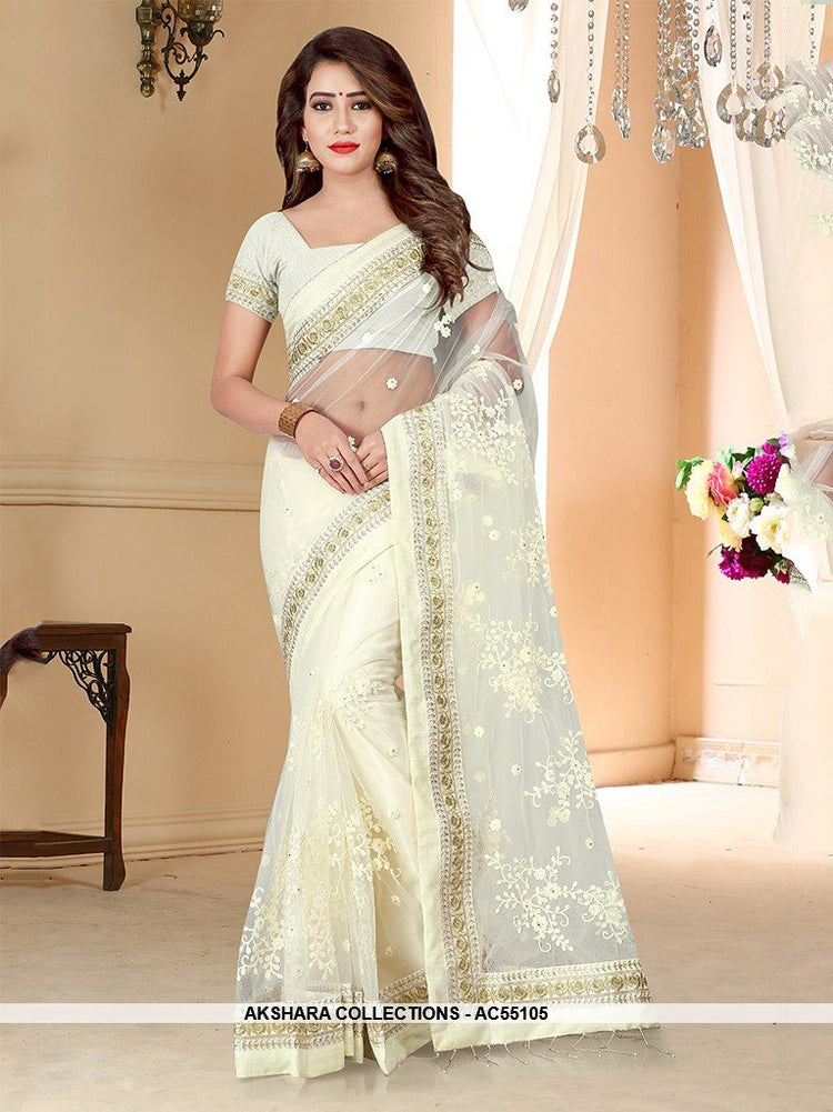 AC55105 - White Color Net Saree