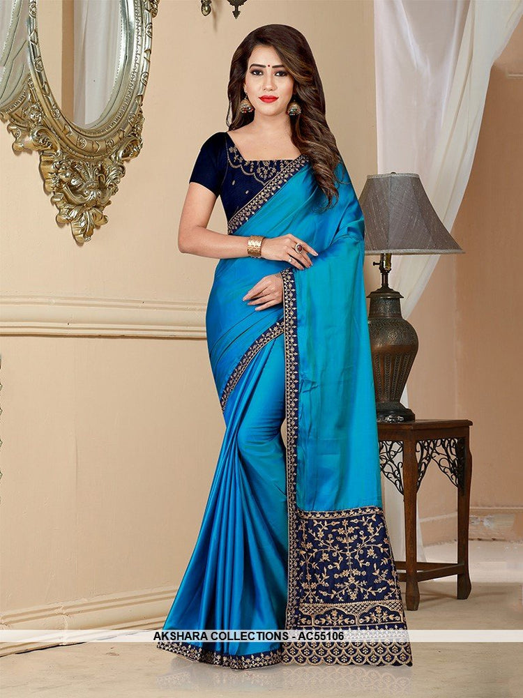 AC55106 - Blue Color Barfi Saree