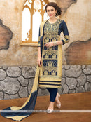 AC55126 - Navy Blue and Cream Color Cotton Salwar Kameez